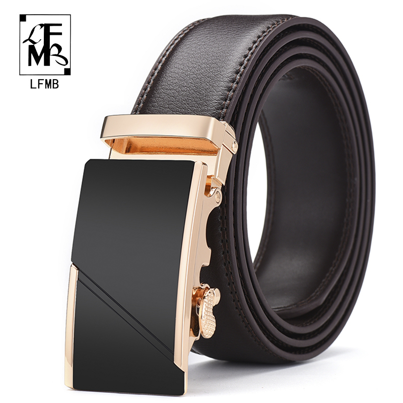 [LFMB]Men Belt Automatic Genuine Leather Brown Bown Belt Men's Belts Automatic Buckle High Quality Business Male Men's Belts