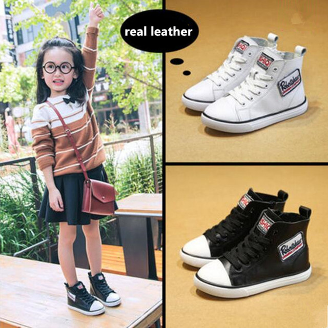 2016 Autumn Winter Children Fashion Sneaker Cotton Shoes Boys Genuine Leather kids Boots Casual  Baby's Girls Martin Board Shoes