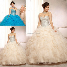 Dresses For Womens Ball gown Sweetheart Quinceanera Dresses Ivory Organza Flouncing Beads Sequin 2016