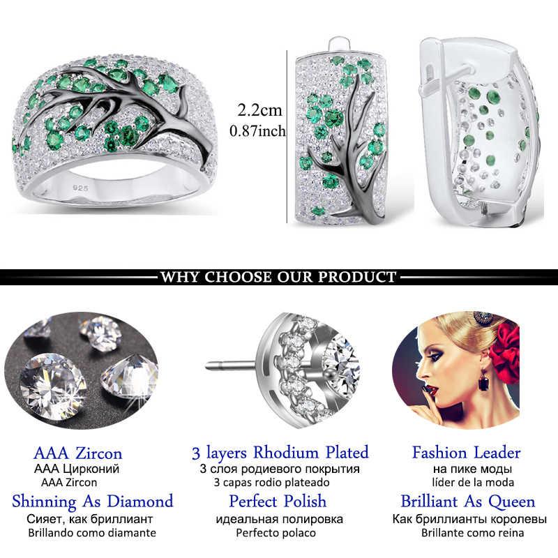 แฟชั่นเงินสีต้นไม้ Zircon ชุดเครื่องประดับสำหรับสตรีสีแดงเงาต่างหูและแหวนชุดเครื่องประดับอินเดีย