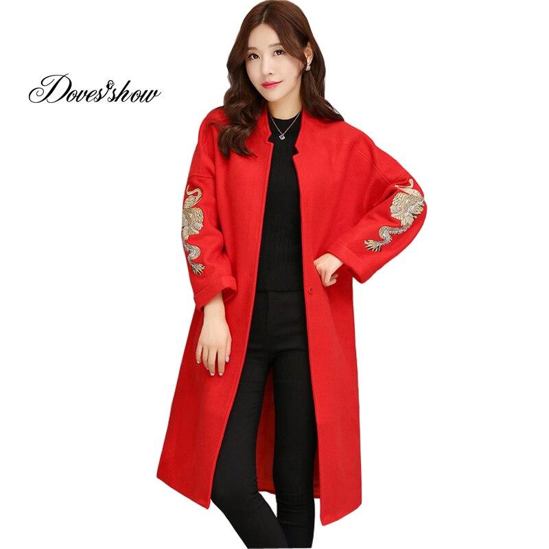 Manteau en cachemire broderie Phoenix pour femme 2017 nouveau manteau en laine femme veste d'hiver chaude pardessus manteau en laine femme Long vêtement extérieur