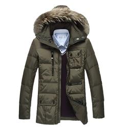 New 2016 winter duck coat men thickness jacket fur collar hoodies slim parkas casual warm snow.jpg 250x250