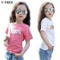 V-TREE детская Футболка Для Девушки Bronzing Письмо Короткий Рукав Рубашки Для Девочек Верхняя одежда Детей Костюм Летом Моде Футболки