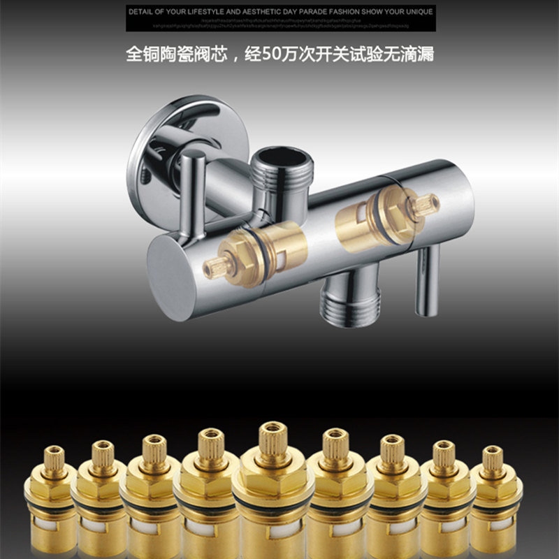 1/2 inch(DN15) Wall Mounted Double Outlet Outdoor Garden Faucet Bathroom Wall Mounted Wash Machine Faucet Angle Valve
