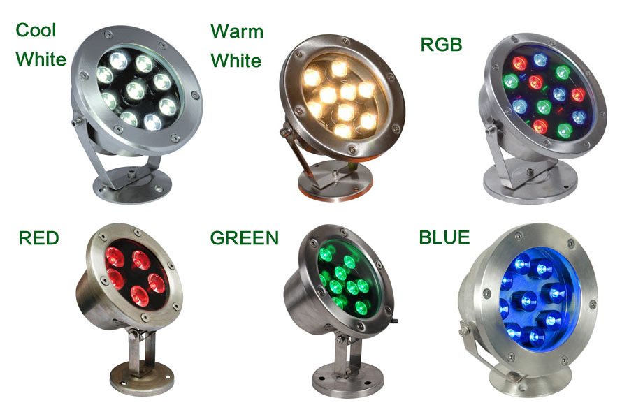 best price 6W/12W/18W/24W/30W/36W Red Green Blue IP68 CREE LED AC DC12V Underwater Aquarium Pool Fish Tank RGB Spot light lamp