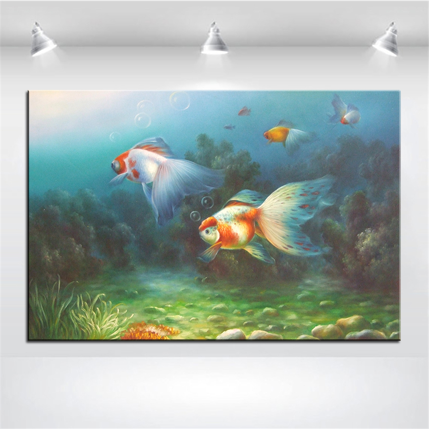 Wall Art, Wall Decor, Wall Painting Little Goldfish Digital oil Painting Print, Nice Painting for wall picture no frame goldfish