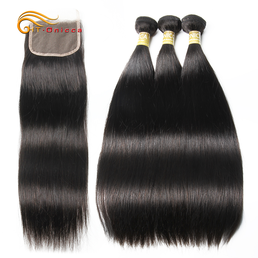 Brazilian Straight Hair 3 Bundles With Closure Human Hair Bundles With Baby Hair Closure Non Remy Brazilian Hair Weave Bundles