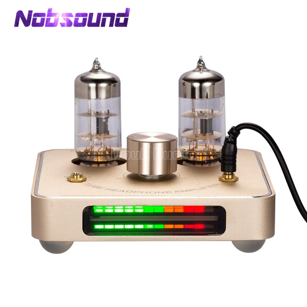 Nobsound Little Bear P2 Mini HiFi 6C11 Vacuum Tube Amplifier Stereo Headphone Amp With VU Meter Black/Gold 1pcs high quality little bear p5 stereo vacuum tube preamplifier audio hifi buffer pre amp diy new