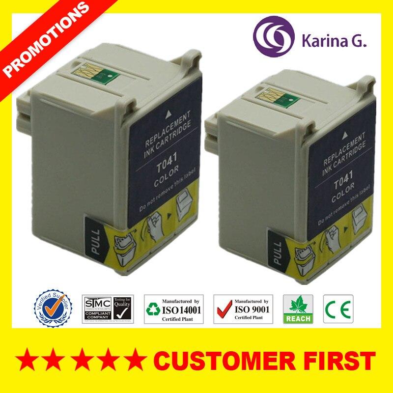 2 pk kompatibel color tintenpatronen für t041 e-041 für epson stylus c62...