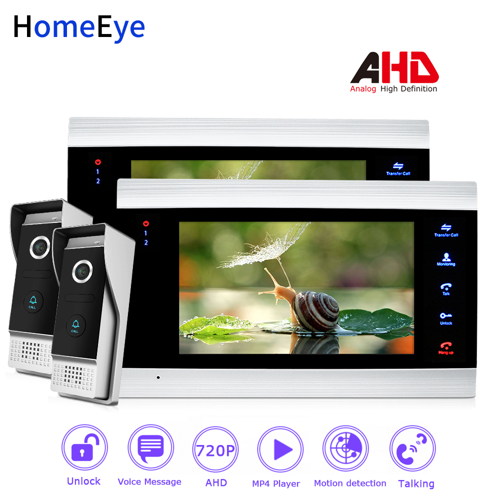 HomeEye 720P AHD Video Door Phone Video Intercom Home Access Control System 2-2 Motion Detection Security Alarm Wide View Angle