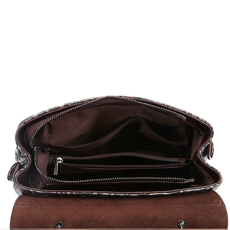 Women Vintage Top Quality Genuine Leather Cowhide Embossed Hand Bag Back Pack Clutch Bag Student Travel Package