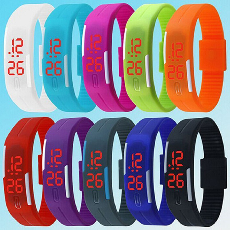 2017 New Women's Watch LED Sports Wrist Watch Silicone Touch Digital Display Bracelet Wristwatches Men Clock red led watch men silicone wrist watch