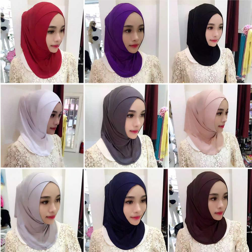 ראש צעיף עבור אסלאמי מוסלמי מטפחת לעטוף מוסלמי מטפחת רופף ונוח ארוך שיפון Sarves Hijabs רגיל צבע צעיף