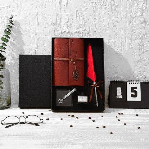 new retro pena caderno caneta conjunto caixa de presente requintado conjunto tinta de escrever artigos