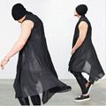 Trendy Avant-garde Dark Edge Mens Long Length See-through Black Cardigan Vest Mens Sleeveless Cloak Tops Mens Nightclub Clothing