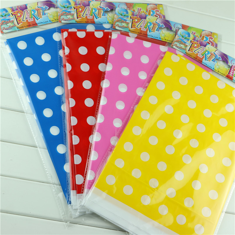 Plastic Table Cloth Polka Dot Cover Waterproof Disposable Tablecloth Birthday Decoration Party Wedding Home 1pcs