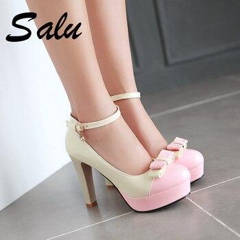 Salu 2019 классические туфли-лодочки на высоком каблуке, женская обувь, большие  размеры 35-43, черные туфли-лодочки с круглым носком, весна-осень, б. 8627377532a