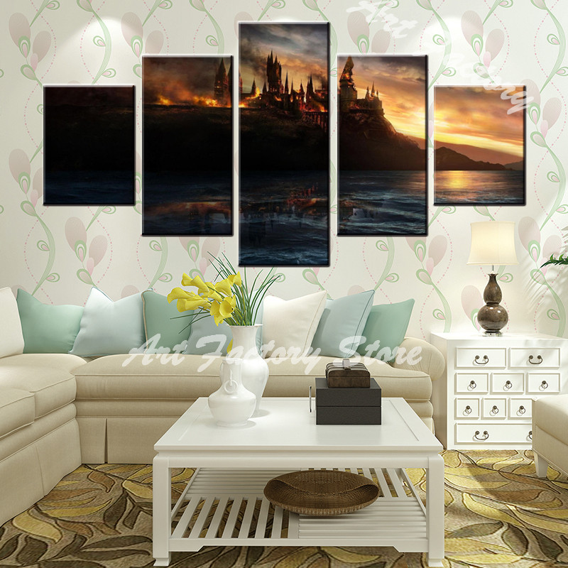 HD 5 pieces Modern Paintings High Quality Pictures about castle For Living Room Abstract Beautiful Oil Artwork Cuadros B001