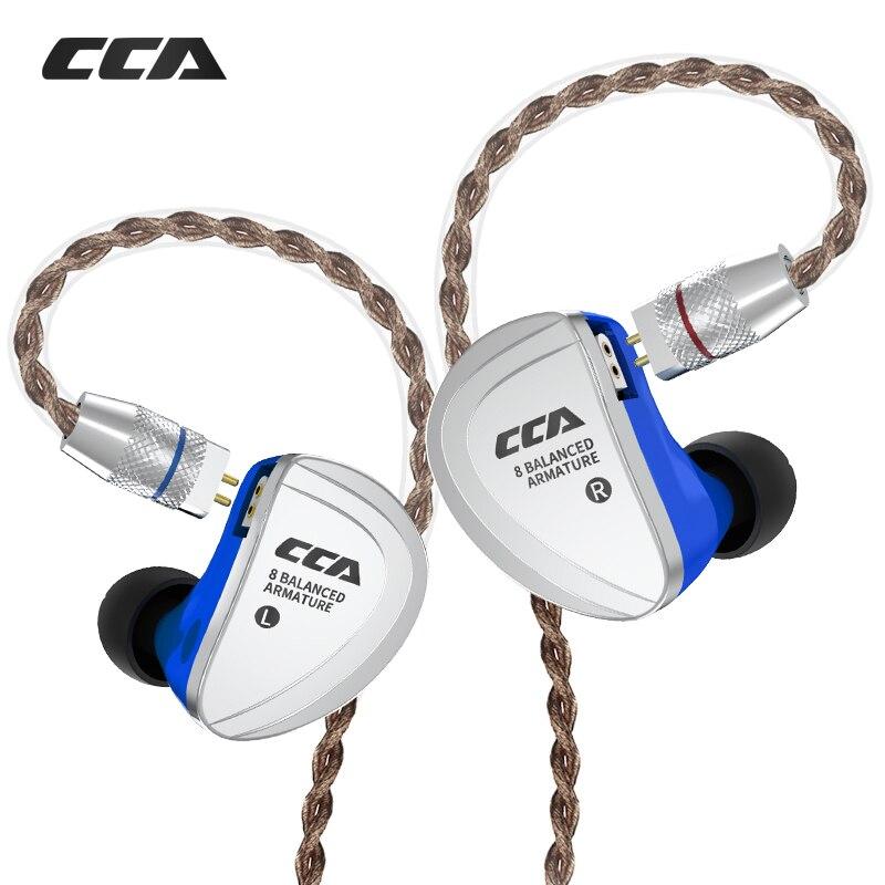 CCA C16 8BA Unità di Azionamento In Trasduttore Auricolare Dell'orecchio 8 Balanced Armature HIFI Monitoraggio Auricolare Auricolare Con Staccabile Staccare 2PIN Cavo