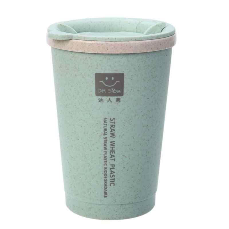 280ML çift duvar yalıtım buğday elyaf samanı kahve fincanı seyahat kupa sızdırmaz
