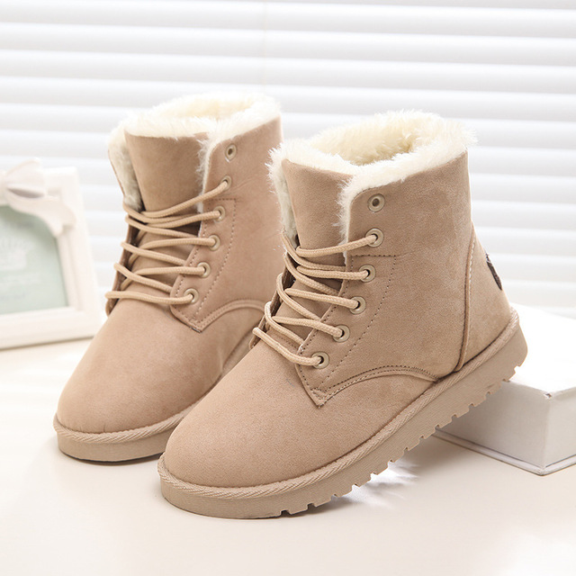 Winter Snow Boots Female Short Tube Warm Boots Lace Up Round Toe Flat Heel Ankle Boots For Women Winter Shoes Plus Size 35 42