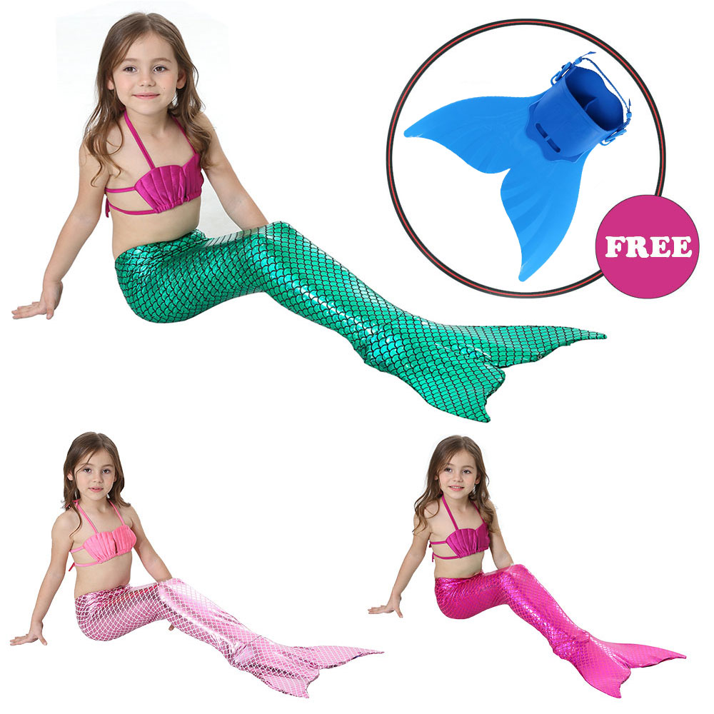 Fee Et Moi Girls Swimming Mermaid Tail Cosplay for Girls kids Fancy Dress Swim Bikini