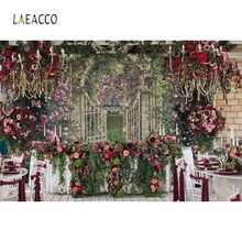 Laeacco Flowers Wall Wedding Party Portrait Bridal Photography Backgrounds Customized Photographic Backdrops For Photo Studio