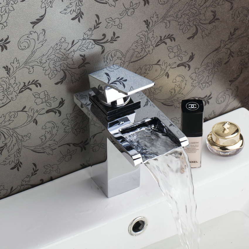 Torayvino Contemporary Sumptuous Waterfall Basin Faucet Chrome Polished Deck Mounted Single Handle Hot Cold Water Basin Faucet torayvino style kitchen faucet chrome polished deck mounted single handle hot cold water beautiful eminent kitchen faucet