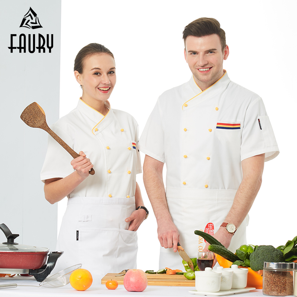 White Chef Jacket Unisex Short Sleeve Restaurant Catering Kitchen Work Clothes Bakery Sushi Cafe Canteen Baked Pastry Uniform