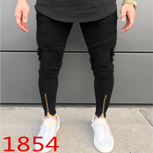 цены на New Ripped Holes Jeans Men Zip Skinny Biker Jeans Black White Men Jeans with Pleated Patchwork Slim Fit Hip Hop Jeans Men Pants  в интернет-магазинах