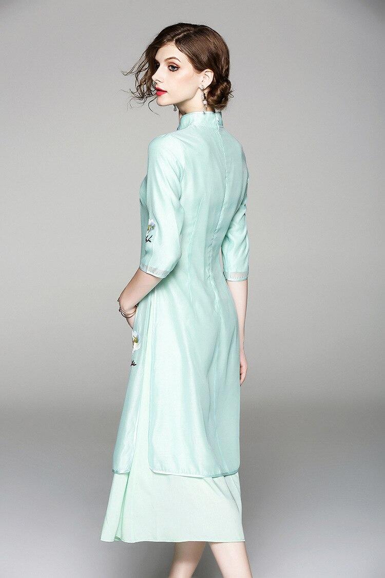 Cheongsam Brodée Livraison Gratuite Pour Fleur Robe Conception Grande Soyeux Femmes white Organza Chinois Originale Style D'été Taille Green v8wn0yOPmN