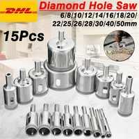 Diamant trou scie foret outil 6-50mm céramique porcelaine verre marbre 6/8/10/12/14/16/18/20/22/25/26/28/30/ 40/50mm haute qualité