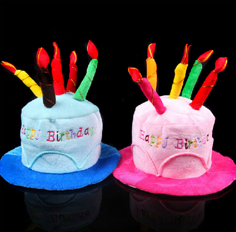 Adult 2 Colors Funny Happy Birthday Cake Candle Hat For Party Costume Cap With 5 Candles In Hats From Home Garden On