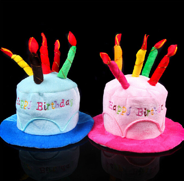 Adult 2 Colors Funny Happy Birthday Cake Candle Hat For Party Costume Cap With 5 Candles