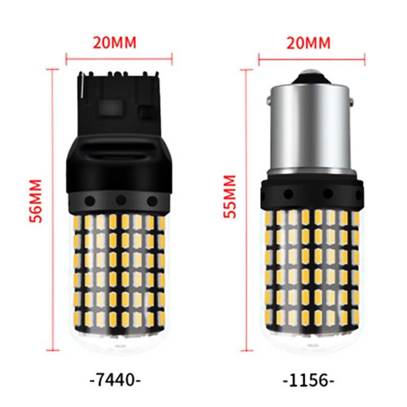 WTS 20 pièces voiture P21W LED BA15S 1156 BAU15S 3014 puce 144smd lumière S25 Auto clignotant ampoule lampe DRL blanc rouge jaune