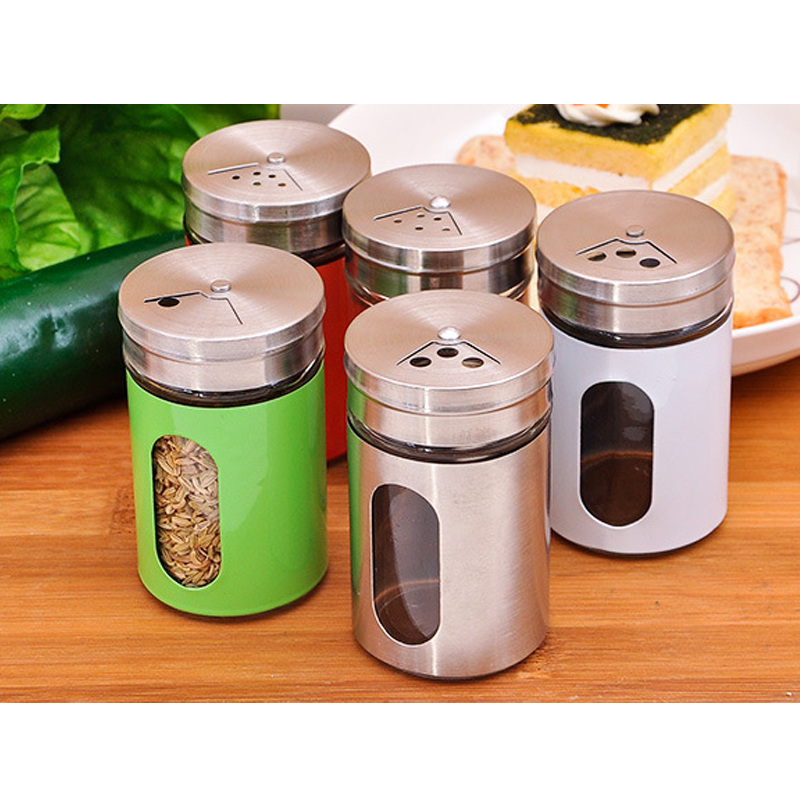 Colorful Stainless Steel Galss Seasoning Cans Spice Pepper Salt Container Toothpick Holder Kitchen Tools Gadget Accessories