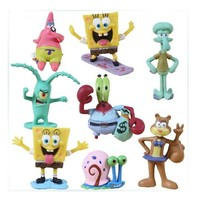 NEW Hot 3 6cm 8pcs Set SpongeBob Pants Collectors Action Figure Toys Christmas Gift Doll