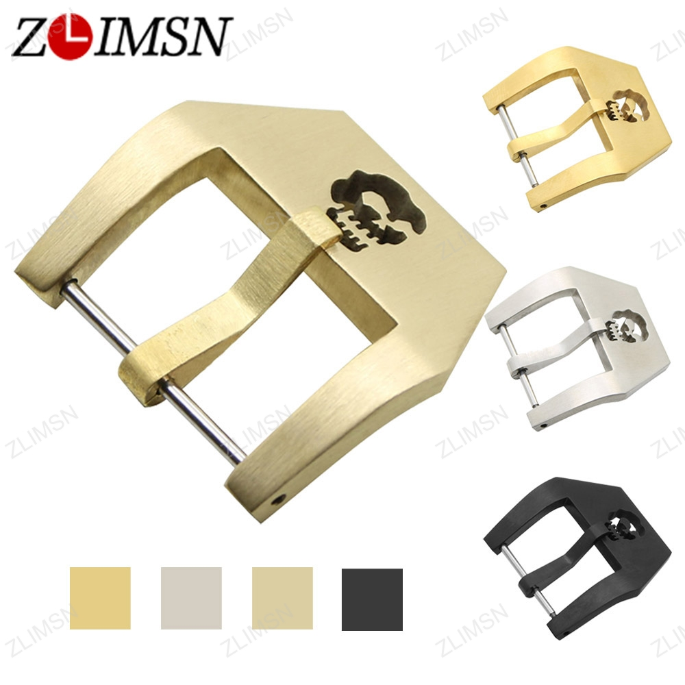 ZLIMSN Stainless Steel Watch Buckle Silver Gold Black Skull Buckles Watchbands Band Strap Clasp Screw-In Clasp 20 22 24 26mm K55 zlimsn genuine leather watchbands for tissot black brown watch strap silver butterfly clasp 20 22 24 26mm watches accessiores
