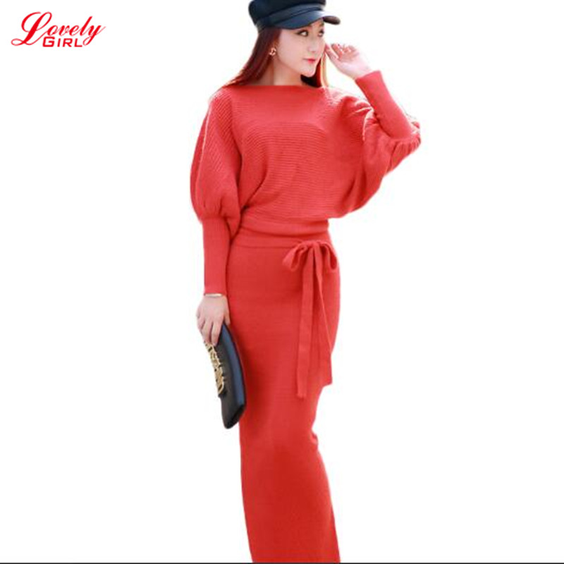 Long Sleeve Maxi Dress Knitted 2018 Autumn Winter High Waist Sweater Dress 2 Piece Set Clothing Red Black Red Ladies Dresses