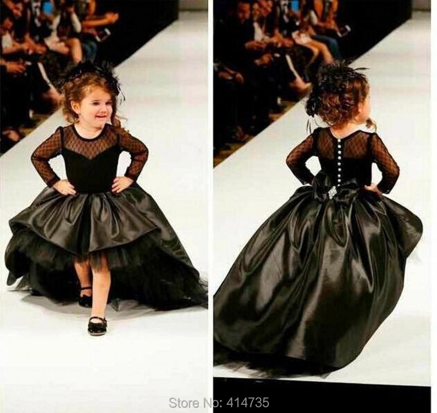 Ball Gown   Flower     Girl     Dresses   With Long Sleeves Pearls Jewel Little   Girls   Party   Dress   Pageant Gowns Black Satin High Low