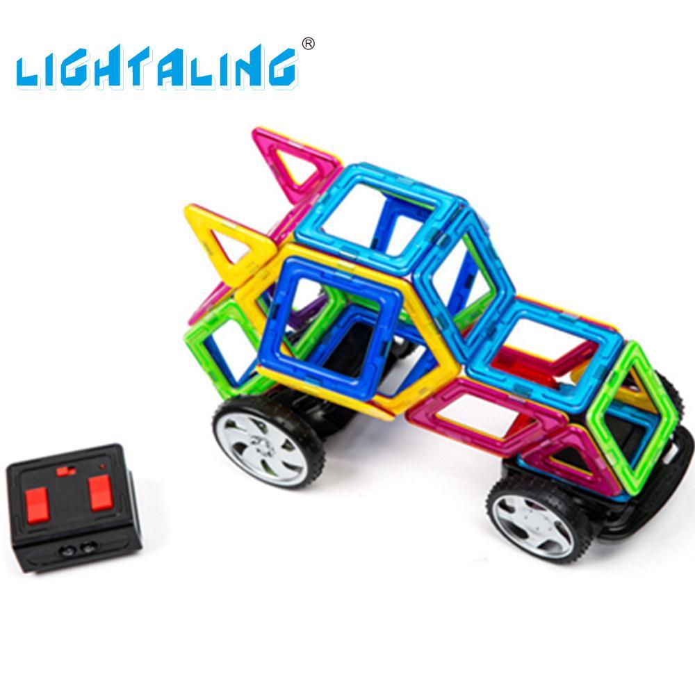 Lightaling Toys Magnetic Designer Remote Control RC Car Building Blocks Magnet DIY Electronic Toy susengo magnetic toy building enlighten block designer 358pcs magnet bars
