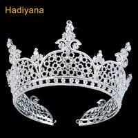 Elegante circón espumoso gran nupcial tiara corona para las mujeres moda de alta calidad cristal boda coronas BC3185 hadlyana