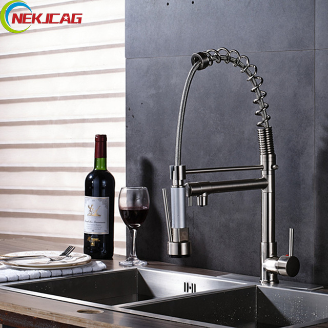 Kitchen Sink Faucets With Sprayers | Brushed Nickel Led Spring Kitchen Faucet Deck Mounted Pull Down