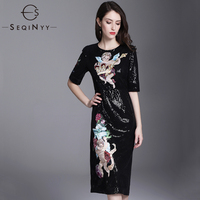 SEQINYY Sequins Dress Luxury 2018 Summer New Style Lady Short Sleeve Angel Flowers Printed Slim Sexy Black Knee Dress