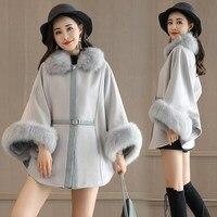 2017 Winter Women cloak Faux Fur Coat Poncho White Warm Basic Coats Fur Jacket Elegant Luxury Women Jacket