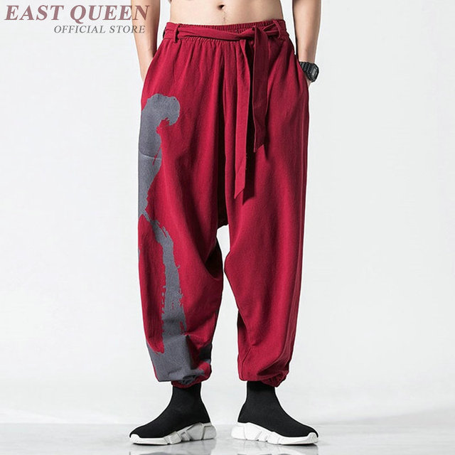 Traditional Chinese Pants Streetwear Mens Hemp Clothing Harem Sweatpants Pantalon Kung Fu Japanese Trousers Kimono Pants KK2865 2