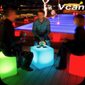 Waterproof Outdoor PE Plastic remote control charge lithium battery home party club bar indoor Garden Chair Cube