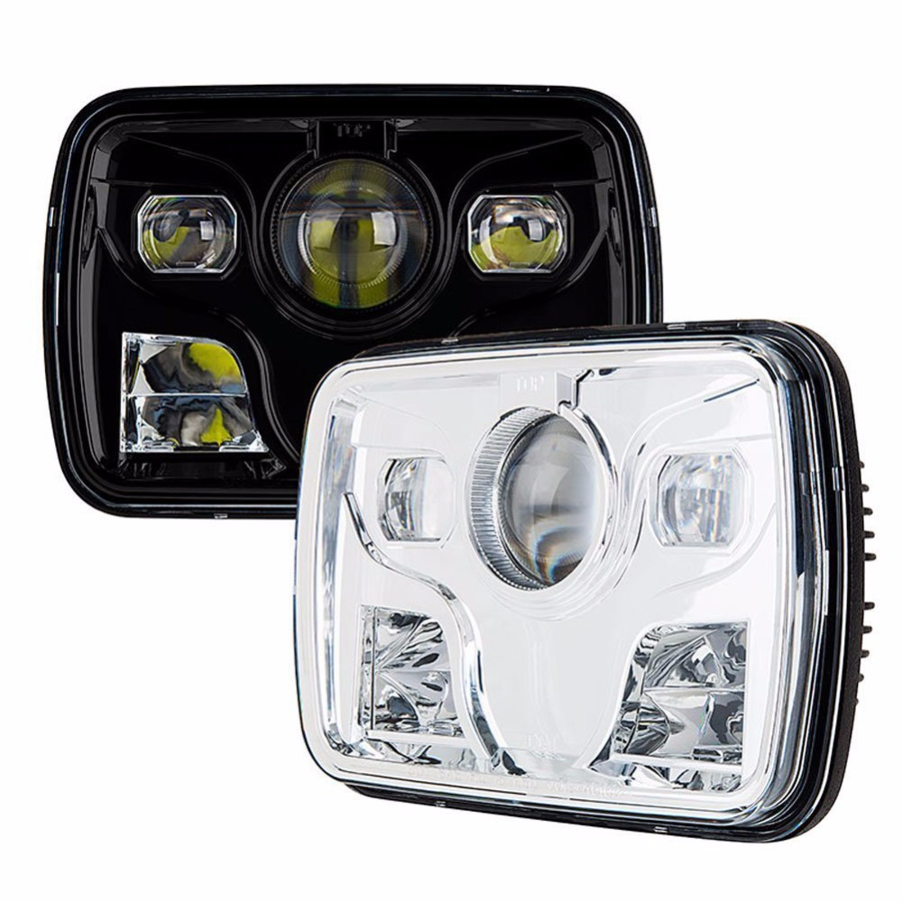 7x6 inch H4 Square LED Headlights High/Low Beam DRL Clear Projector Lens Fits for H6014,H6052,H6054,6054 Sealed Beam Headlight