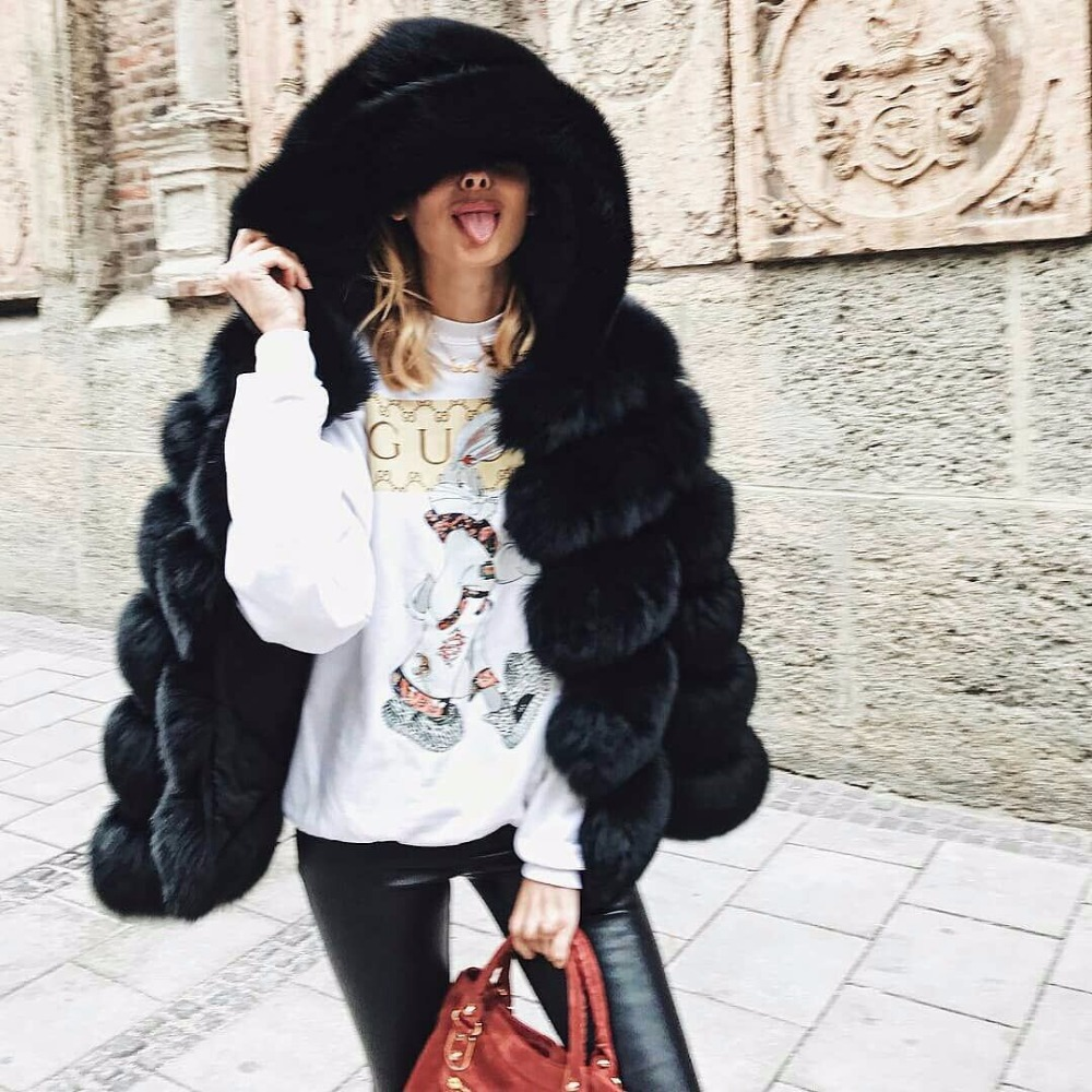 60CM Gorgeous real fox fur hooded coat for women 2018 winter new collection 6 panles horizontal warm jacket with fur hood