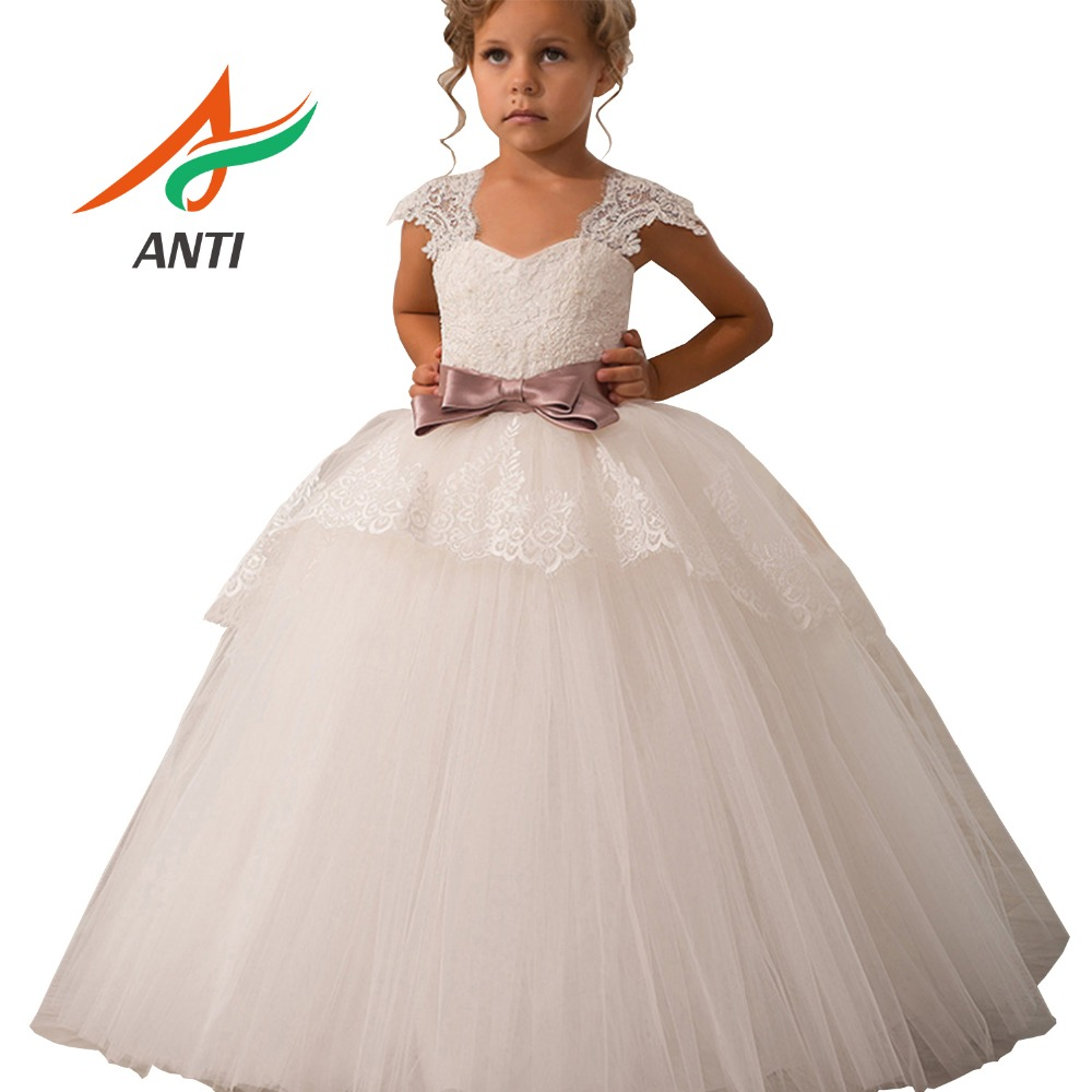 ANTI Princess Ball Gown Long White Flower Girl Dresses 2019 Soft Tulle First Communion Dresses Girls Pageant Dress Prom Dress